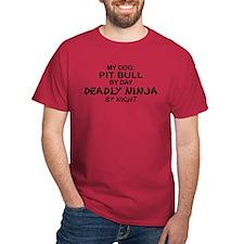 Pit Bull Deadly Ninja by Night T-Shirt