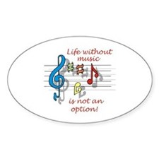 Life Without Music Oval Decal