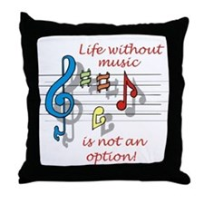 Life Without Music Throw Pillow