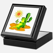 Cactus in the Desert Iguana Keepsake Box