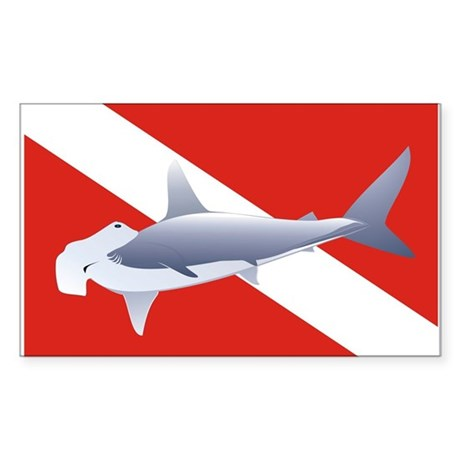 hammerhead on dive flag Rectangle Sticker