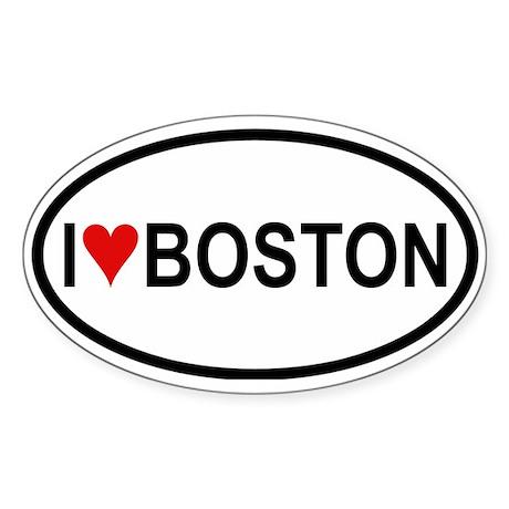 I Love Boston Oval Sticker