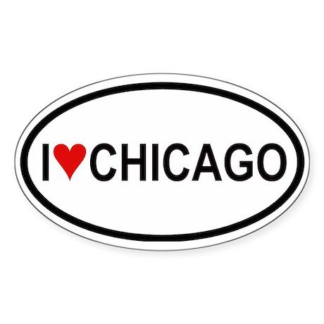 I Love Chicago Oval Sticker