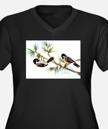 Two Chickadees Women's Plus Size V-Neck Dark T-Shi
