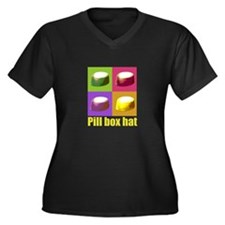 Pill box hat Women's Plus Size V-Neck Dark T-Shirt