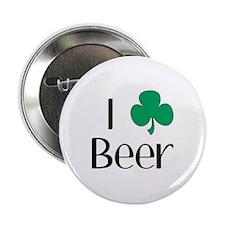 "I Love (Heart Shamrock) Beer 2.25"" Button (10 pack"