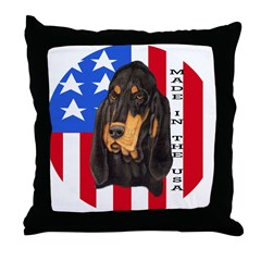 Black & Tan USA Throw Pillow
