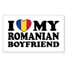 I Love My Romanian Boyfriend Rectangle Decal