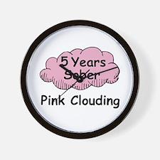 Pink Cloud 5 Wall Clock