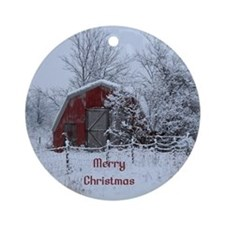 Merry Christmas Red Barn Ornament (Round)