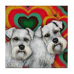 WHITE SCHNAUZER DOGS LOVE VALENTINE Tile Coaster