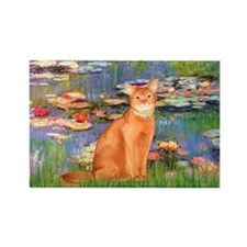 Lilies & Red Abyssinian cat (S) Rectangle Magnet