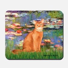 Lilies & Red Abyssinian cat (S) Mousepad