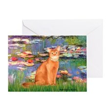 Lilies & Red Abyssinian cat (S) Greeting Card