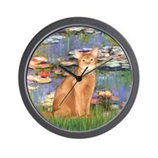 Lilies & Red Abyssinian cat (S) Wall Clock