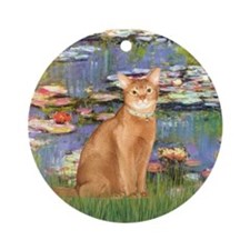 Lilies & Red Abyssinian cat (S) Ornament (Round)