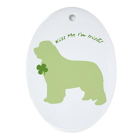 Newfie... Kiss Me I'm Irish! Oval Ornament