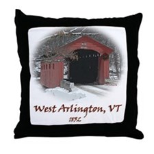 West Arlington Covered Bridge Throw Pillow