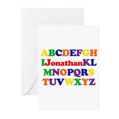 Jonathan - Alphabet Greeting Cards (Pk of 10)