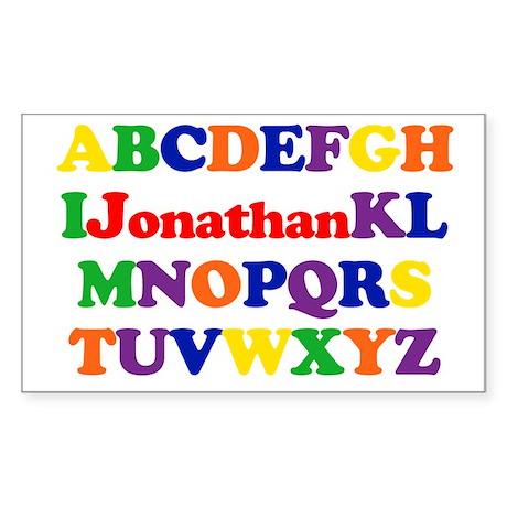 Jonathan - Alphabet Rectangle Sticker