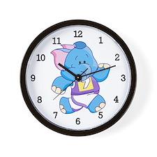 Lil Blue Elephant Runner Wall Clock