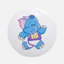 Lil Blue Elephant Runner Ornament (Round)