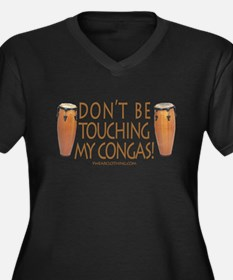 Don't Touch Congas Women's Plus Size V-Neck Dark T