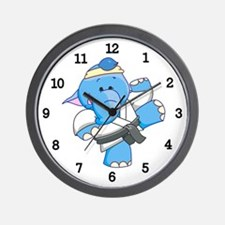 Lil Blue Elephant Karate Wall Clock