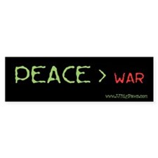 Peace > War Bumper Bumper Sticker