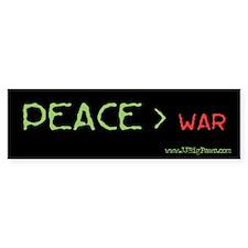 Peace > War Bumper Bumper Sticker