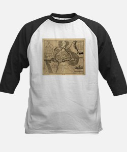 Vintage Map of Ghent Belgium (1709 Baseball Jersey