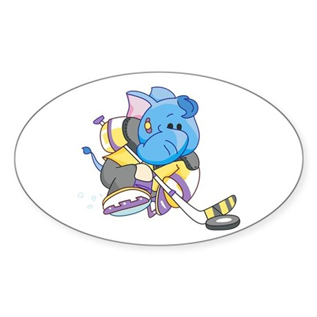 Lil Blue Elephant Hockey Oval Sticker