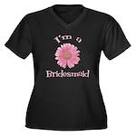 Daisy Bridesmaid Women's Plus Size V-Neck Dark T-S