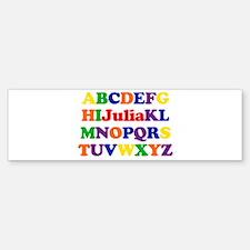 Julia - Alphabet Bumper Bumper Bumper Sticker