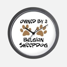 Owned By A Belgian Sheepdog Wall Clock