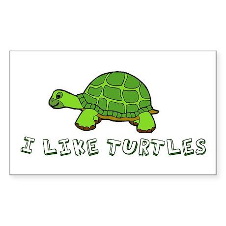 I Like Turtles Sticker (Rectangle)