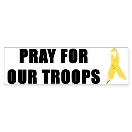 Pray For Our Troops Ribbon Bumper Sticker