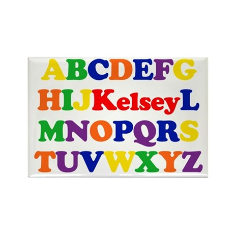 Kelsey - Alphabet Rectangle Magnet (10 pack)