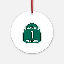 Ventura, California Highway 1 Ornament (Round)