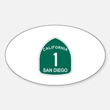 San Diego, California Highway Oval Decal