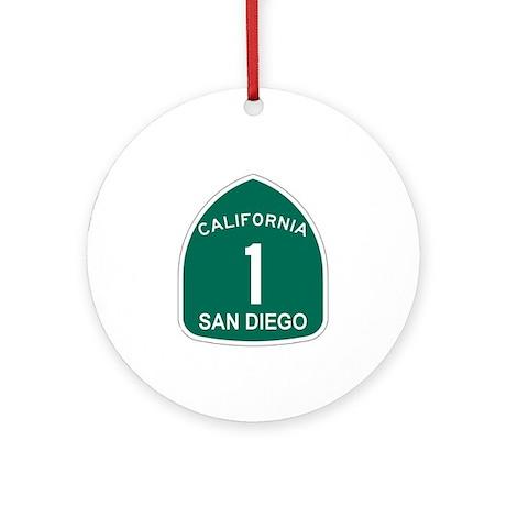 San Diego, California Highway Ornament (Round)