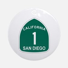 San Diego, California Highway Ornament (Round)