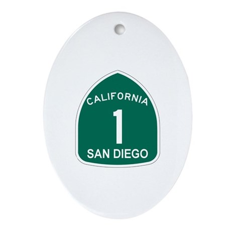 San Diego, California Highway Oval Ornament
