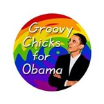 Big Groovy Chicks for Obama Button