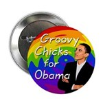 Groovy Chicks for Obama Campaign Button