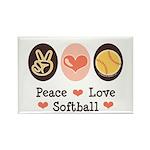 Peace Love Softball Team Rectangle Magnet (100 pac