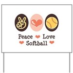 Peace Love Softball Yard Sign