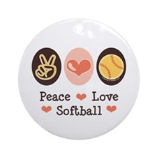Peace Love Softball Ornament (Round)