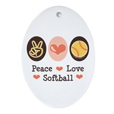 Peace Love Softball Team Oval Ornament