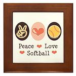 Peace Love Softball Framed Tile